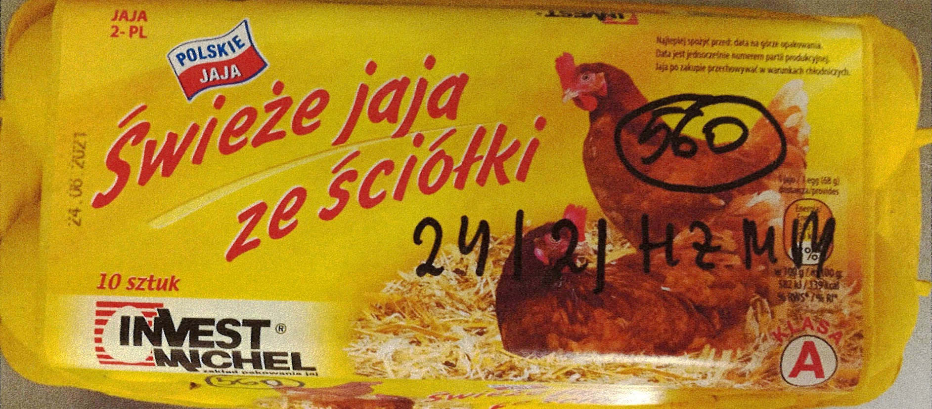 Jaja konsumpcyje skażone Salmonellą.